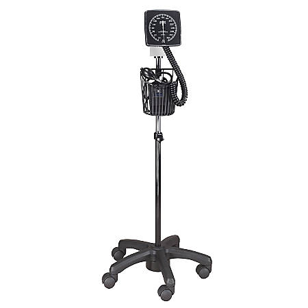 MABIS Legacy Clock Blood Pressure Gauge With Adult Cuff And Rolling Stand, Black