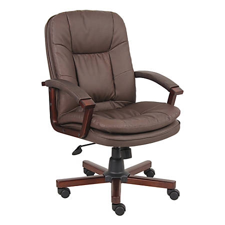 Boss LeatherPlus/Fabric/Wood Chair, Versailles Cherry/Brown
