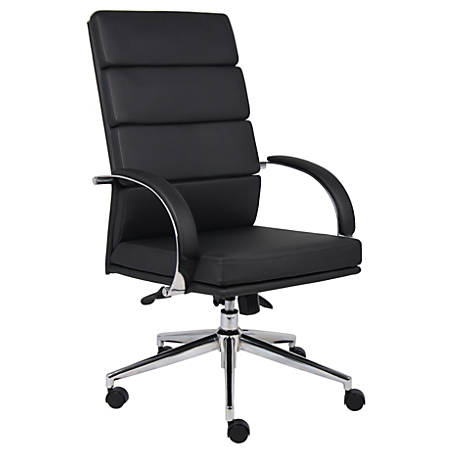 Boss Vinyl High-Back Chair, Black/Chrome