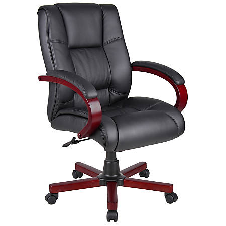 Boss Office Products Vinyl Mid-Back Chair, Black/Mahogany