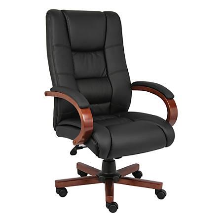 Boss Aaria Vinyl/Wood High-Back Chair, Black/Cherry