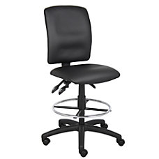 Boss LeatherPlus Drafting Stool BlackChrome