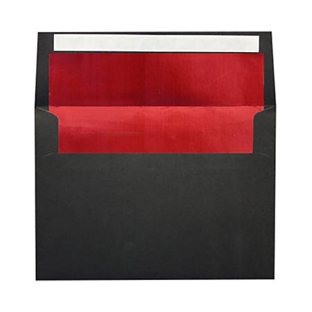 """LUX Foil-Lined Invitation Envelopes With Peel & Press Closure, A4, 4 1/4"""" x 6 1/4"""", Black/Red, Pack Of 1,000"""