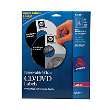 Avery CDDVD Labels Removable 5931 White