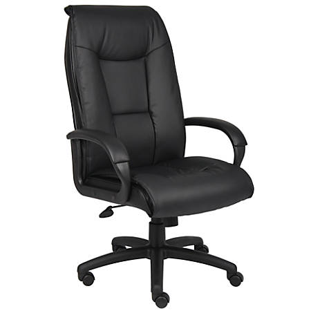 Boss Office Products Vinyl High-Back Chair, Black