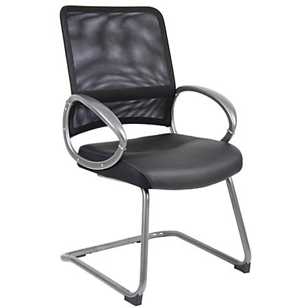 Boss Office Products Mesh Guest Chair, Black/Pewter