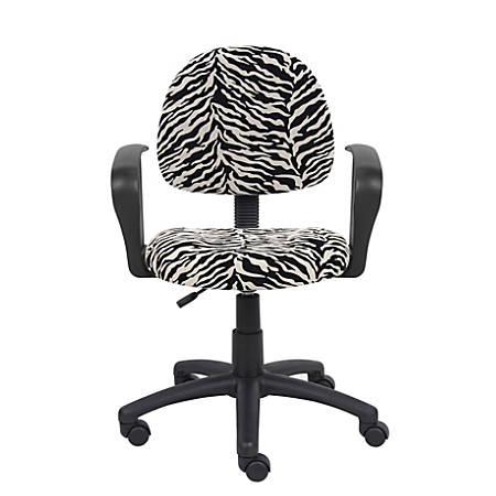 Boss Microfiber Mid-Back Task Chair, Zebra