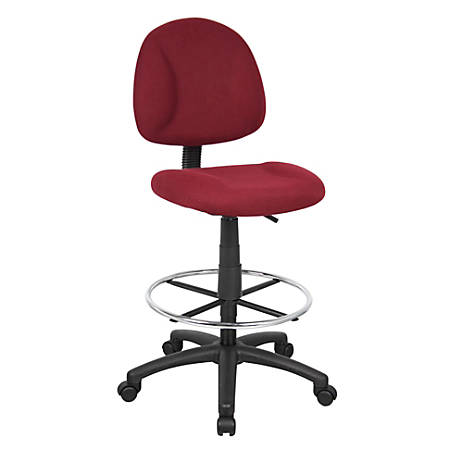 Boss Drafting Stool, No Arms, Burgundy/Chrome, B1615-BY