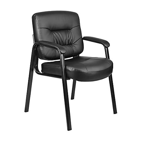 Boss LeatherPlus Mid-Back Guest Chair, Black