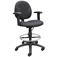 Boss Drafting Stool Adjustable Arms BlackChrome