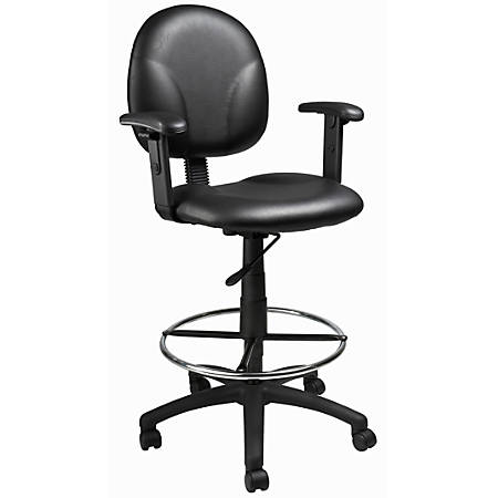 Boss Vinyl Drafting Stool, Black/Chrome