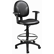 Boss Vinyl Drafting Stool BlackChrome