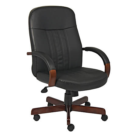 Boss Leather Chair, Black/Mahogany
