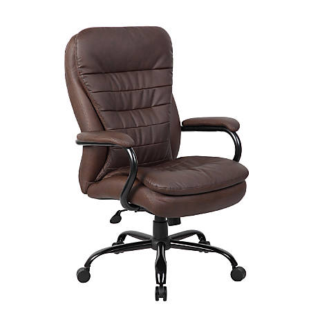 Boss Heavy-Duty Pillow-Top High-Back Chair, Bomber Brown/Brown/Silver
