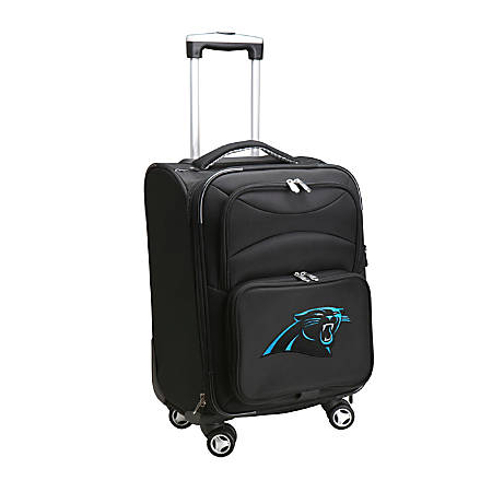 """Denco ABS Upright Rolling Carry-On Luggage, 21""""H x 13""""W x 9""""D, Carolina Panthers, Black"""