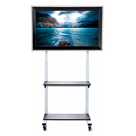 "Luxor CLCD Crank Adjustable Flat-Panel TV Cart, 66""H x 30″W x 29 1/2″D, Light Gray/Black"