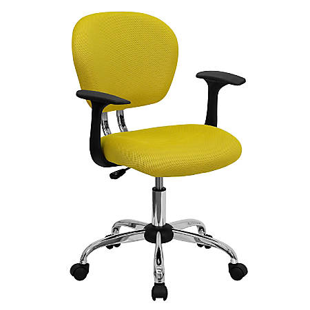 Flash Furniture Mesh Mid-Back Swivel Task Chair With Arms, Yellow/Silver