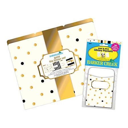 """Barker Creek Folder/Pocket Set, 9"""" x 12"""", Gold, Pack Of 12"""