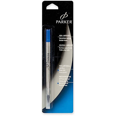 Parker Rollerball Ink Refills - Fine Point - Blue Ink - Break Resistant, Skip Resistant - 1 Each