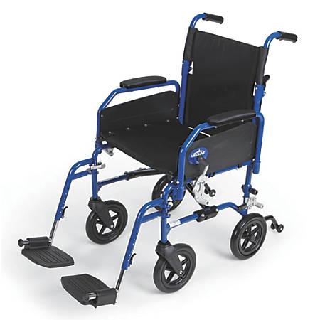"Medline Hybrid 2 Transport Wheelchair, Swing Away, 18"" Seat, Blue"
