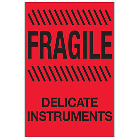 """Tape Logic® Preprinted Special Handling Labels, DL1189, Fragile Delicate Instruments, Rectangle, 4"""" x 6"""", Fluorescent Red, Roll Of 500"""
