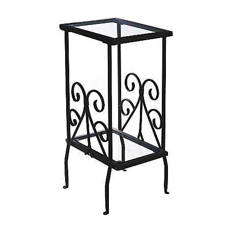 Monarch Specialties 2-Tier Metal Accent Table, Rectangle, Clear/Black