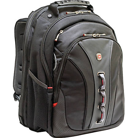 "SwissGear LEGACY WA-7329-14F00 Carrying Case (Backpack) for 15.6"" Notebook - Black - Polyester, Vinyl - 18"" Height x 3.3"" Width x 14"" Depth"