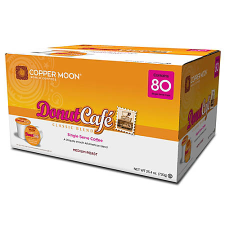 Copper Moon Coffee Single Cups, Donut Café, 0.32 Oz, Pack Of 80