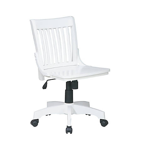 OSP Designs Armless Wood Bankers Chair, White