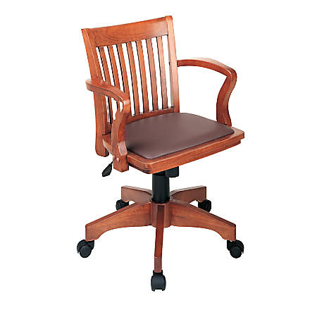 "OSP Designs Deluxe Bankers Chair, 37""H x 23 3/4""W x 22 3/4""D, Brown/Fruitwood"