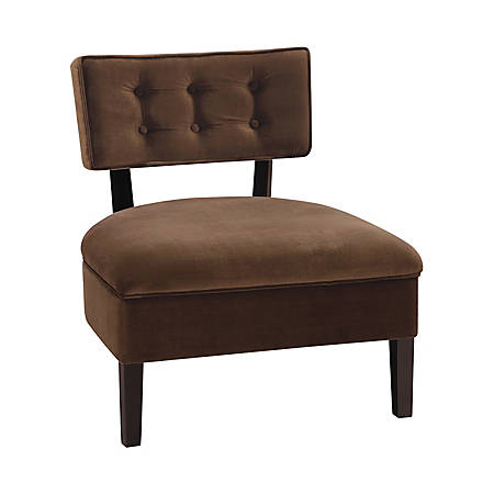 Office Star™ Ave Six Curves Velvet Button Chair, Chocolate Brown