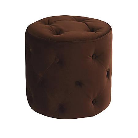 Ave Six Curves Tufted Round Ottoman, Chocolate Velvet