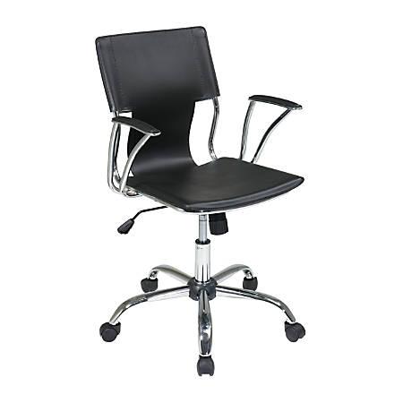 Ave Six Dorado Mid-Back Office Chair, Black/Chrome