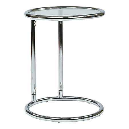 Ave Six Yield Glass Table, Round, Clear/Chrome