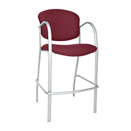 OFM Danbelle Series Café-Height Chair, Burgundy/Silver, Set Of 2