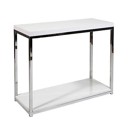 Ave Six Wall Street Table, Foyer, Rectangular, White/Chrome