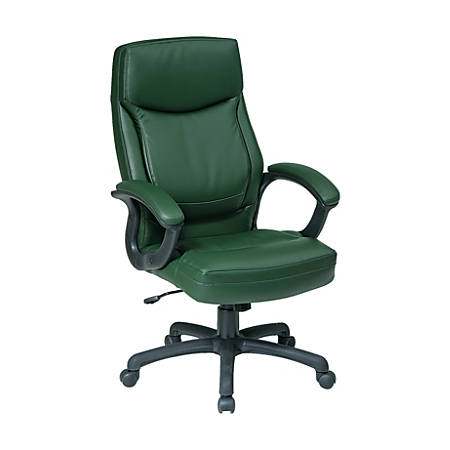 Office Star™ Work Smart Eco Leather High-Back Chair, Green