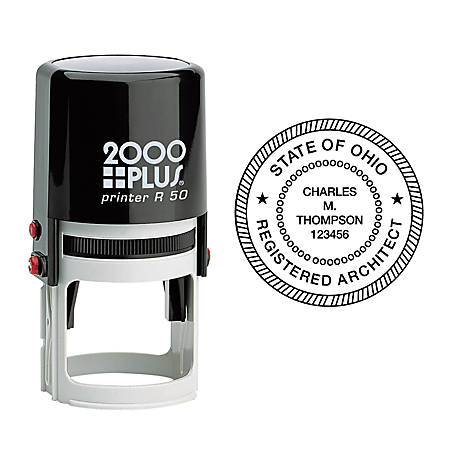 "2000 PLUS® R50 Self-Inking Round Stamp, 1 15/16"" Diameter Impression"