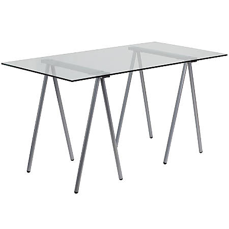 Flash Furniture Contemporary Glass Computer Desk, Clear/Silver