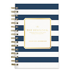 "Day Designer for Blue Sky™ Daily/Monthly Planner, 5"" x 8"", Navy Stripe, January to December 2018 (103623)"