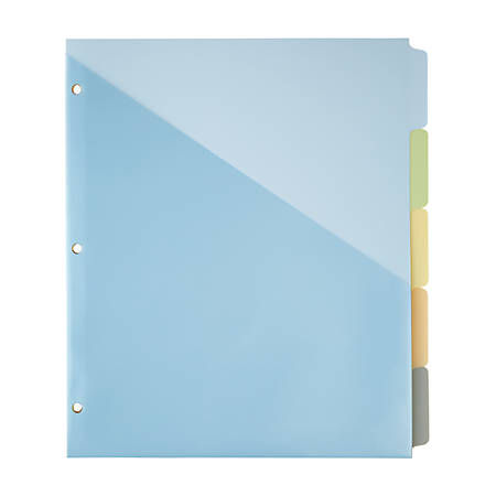 """Office Depot® Brand Single-Pocket Write-On Dividers, 5 Tab, 8 1/2"""" x 11"""", Assorted Colors"""