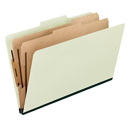 """Pendaflex® Pressboard Classification Folder, 2"""" Expansion, Legal Size, 70% Recycled, Light Green, Box Of 10"""