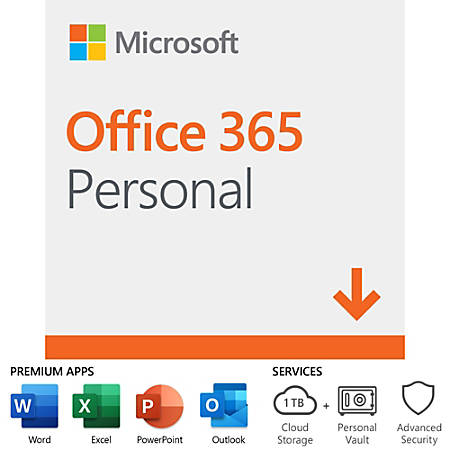 Office 365 Personal, For 1 PC/Mac, 1 Year Subscription, Download