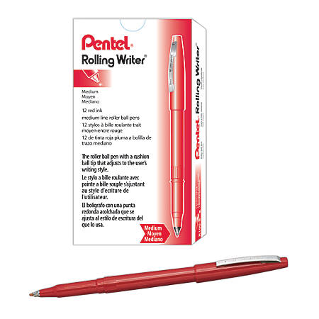 Pentel® Rolling Writer® Pens, Medium Point, 0.8 mm, Red Barrel, Red Ink, Pack Of 12 Pens