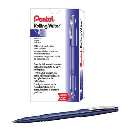 Pentel® Rolling Writer® Pens, Medium Point, 0.8 mm, Blue Barrel, Blue Ink, Pack Of 12 Pens