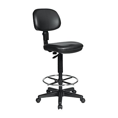 Office Star™ DC517V Work Smart Black Vinyl Drafting Chair, Black