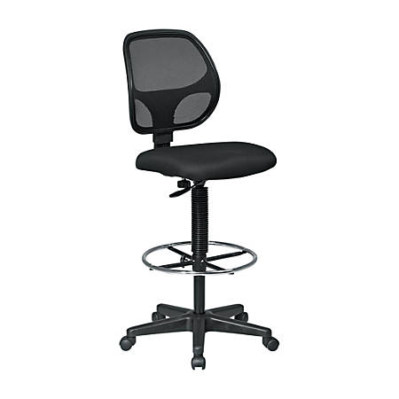 Office Star™ Deluxe Mesh-Back Drafting Chair With Foot Ring, Black