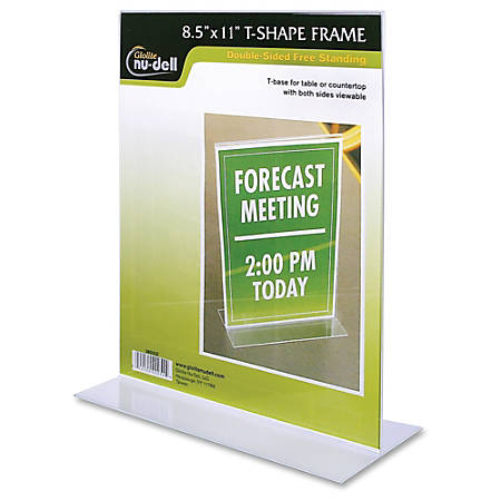 Nudell Acrylic Standing Sign Holder 8 12 X 11 Clear By Office Depot
