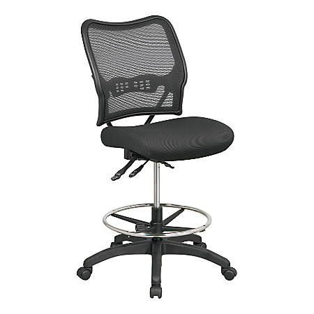 Office Star™ SPACE Deluxe Ergonomic Air Grid/Mesh Armless Drafting Chair, Black