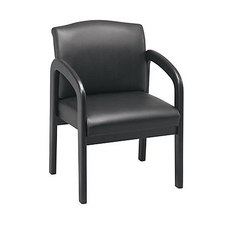 Office Star™ Work Smart Faux Leather Guest Chair, Black/Espresso